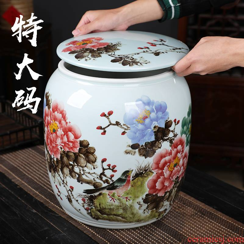 Jingdezhen white tea store extra large ceramic jar with cover puer tea caddy fixings furnishing articles household act the role ofing is tasted