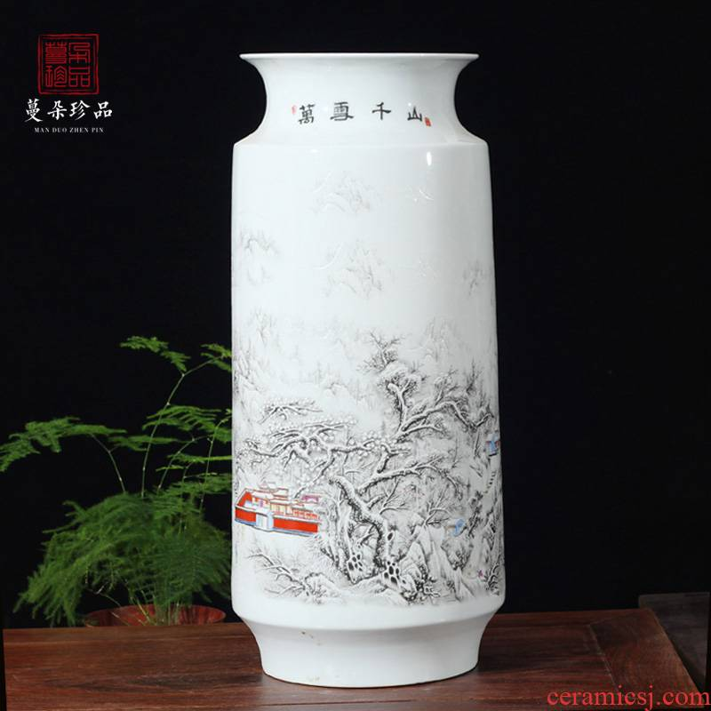 Jingdezhen ceramics snow ceramic porcelain vase studies display TV ark, furnishing articles snow mountains and waters