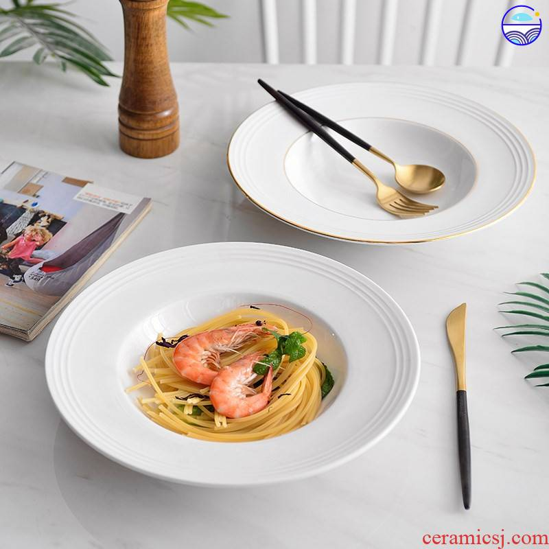 Spaghetti bowl dish western - style pasta dishes contracted Europe type household UFO creative western dishes straw plate of tao