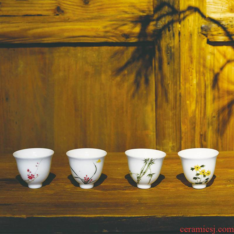 One thousand fire hand - made small master of jingdezhen ceramic by patterns of four cup kung fu tea cups individual sample tea cup