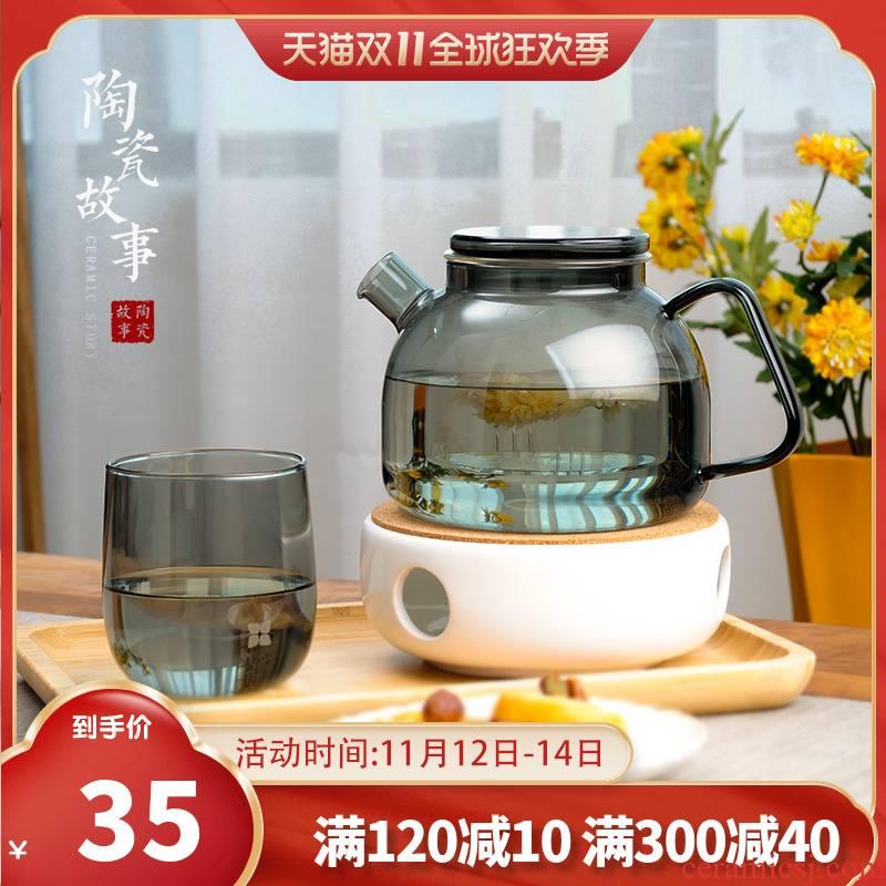Ceramic story English afternoon tea tea set light key-2 luxury boreal Europe style glass flower pot heating fruit tea POTS