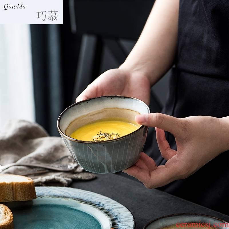 Qiam qiao mu creative ceramic bowl bowl eat pudding bowl dessert bowl bowl household tableware Norwegian sea restoring ancient ways