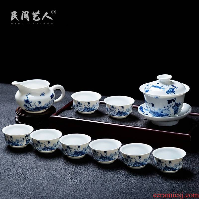Folk artists checking applique baby play figure blue and white porcelain tea sets of jingdezhen ceramic home sitting room of a complete set of CPU