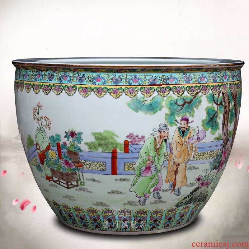 Jingdezhen ceramic hand - made archaize straight spent large goldfish bowl fish bowl lotus cylinder calligraphy and painting tortoise cylinder