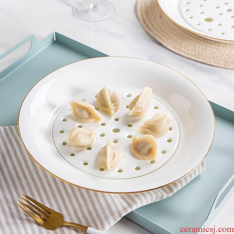 Jingdezhen up phnom penh ipads porcelain home dumplings dumplings round fruit bowl double drop plate plate plate plate