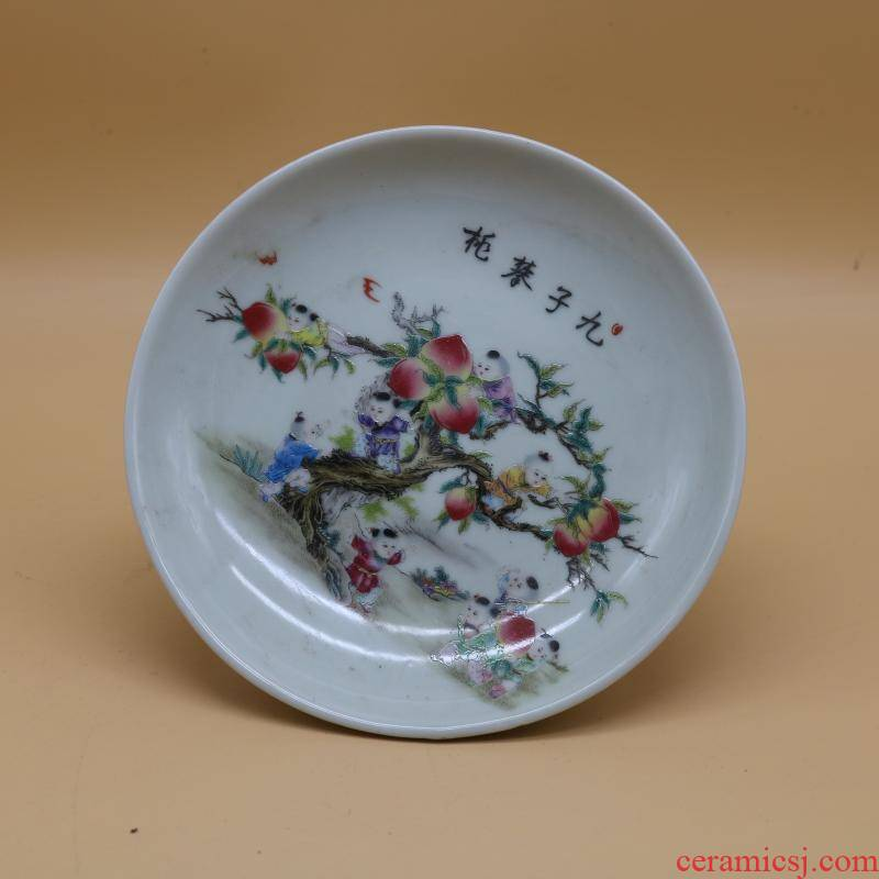 Jingdezhen kilns nine son climb peach best dish fruit tray, collectables - autograph antique folk old antique collection furnishing articles