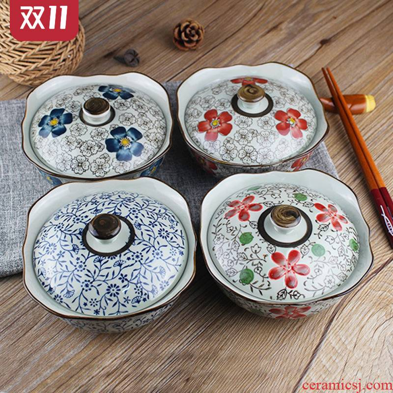 Pickles bowl with cover household with cover bowl round bowl of medium size with a cover on ceramic bowl with cover can L