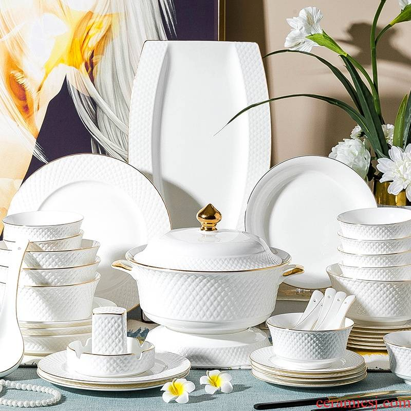 Qiao mu jingdezhen European dishes suit household ipads China dinner set bowl chopsticks ceramics plate combination of Chinese style