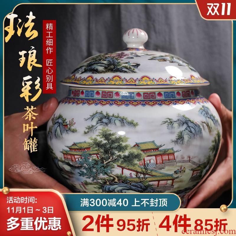 Archaize of jingdezhen ceramics colored enamel caddy fixings trumpet with cover seal storage pu - erh tea and tea pot of tea