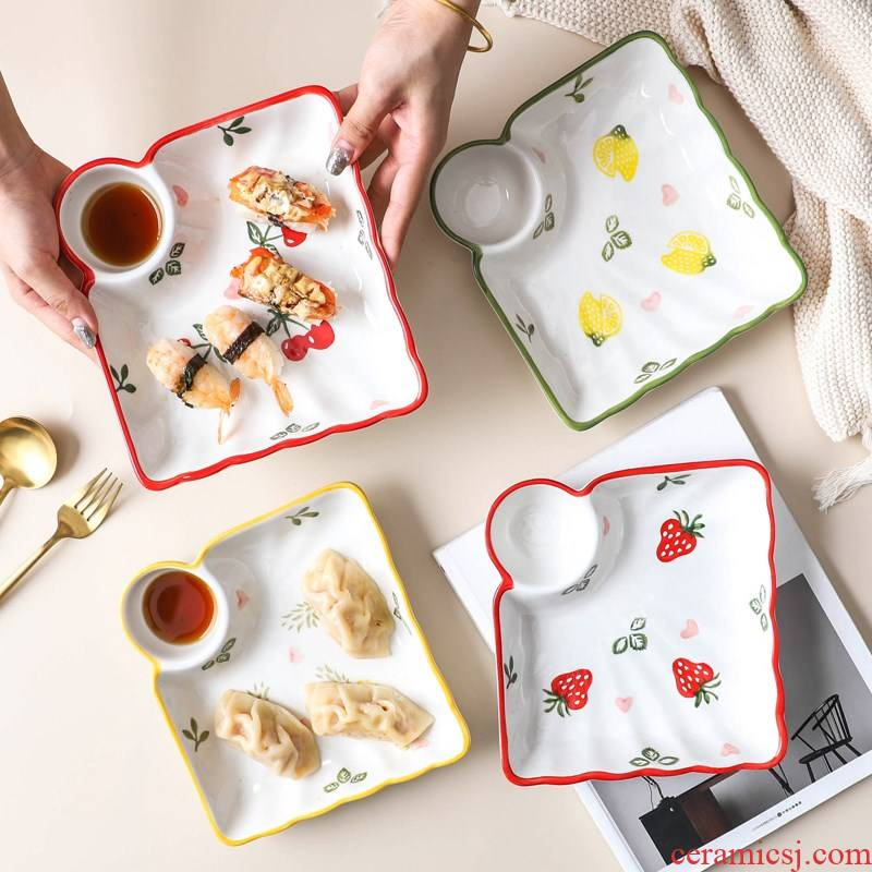 Small fresh dumplings dumplings plate ceramic large vinegar dish dish creative household breakfast tray plate frame plate
