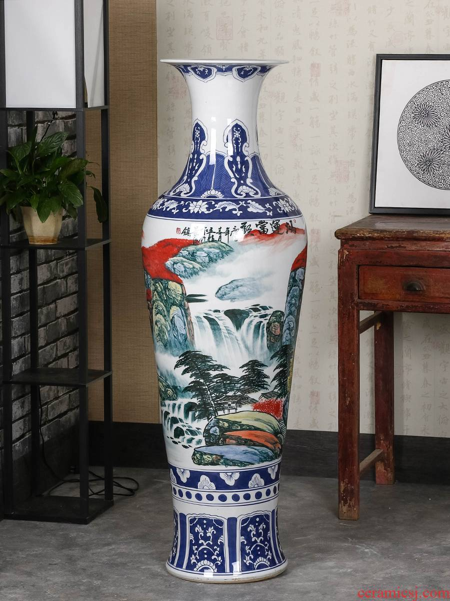 Jingdezhen ceramic big hand blue and white porcelain vase large furnishing articles of Chinese style living room floor decoration decoration gifts