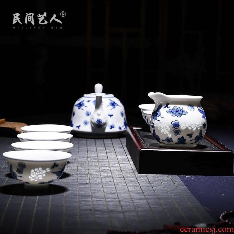 Jingdezhen porcelain and ceramic tea set hand - made pure manual set of kung fu tea pot cup justice