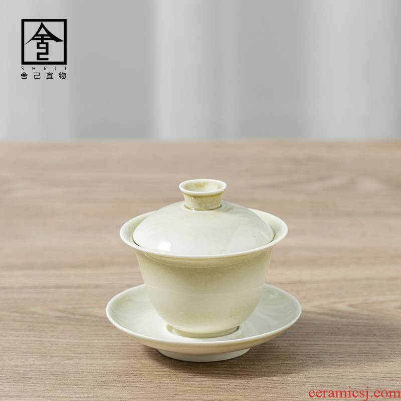 "The Self - ""appropriate plant ash content covered bowl bowl manual single three cups GaiWanCha jingdezhen kung fu tea set"