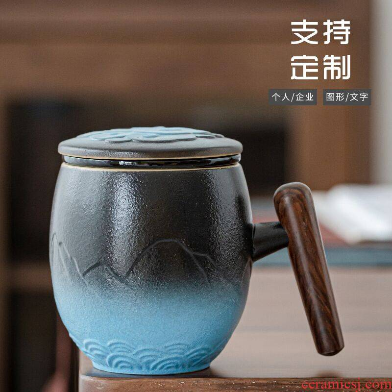 RenXin home office separation filtering ceramic tea cups with cover glass engraving the custom logo make tea cup