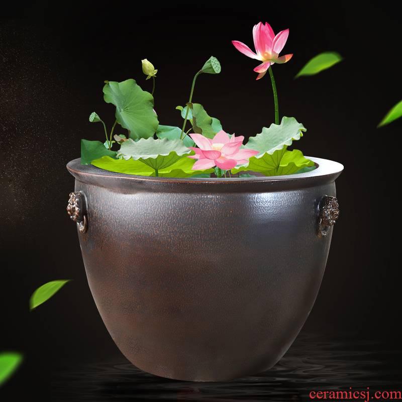 Archaize of jingdezhen ceramic aquarium tank 1 m courtyard porcelain jar water lily basin bowl lotus lotus cylinder cylinder cylinder tortoise