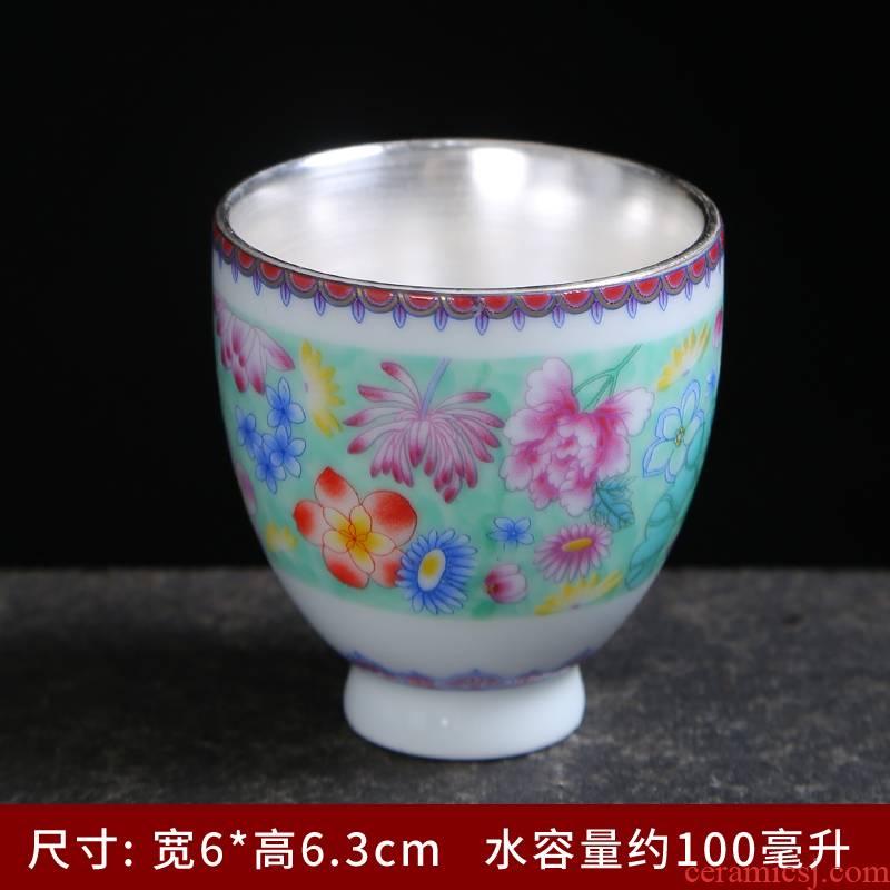 Ceramic cups master cup single CPU colored enamel paint pu - erh tea cups of jingdezhen Ceramic cups kung fu tea tea taking