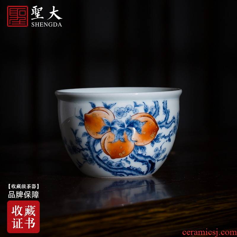 St big blue and white alum red see colour peach teacups hand - made ceramic kung fu wen cylinder cup single cup all hand of jingdezhen tea service