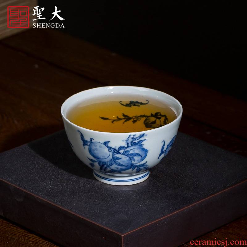 The big cup sample tea cup hand - made ceramic kung fu jingdezhen blue and white peach branches about nine lines master cup tea by hand