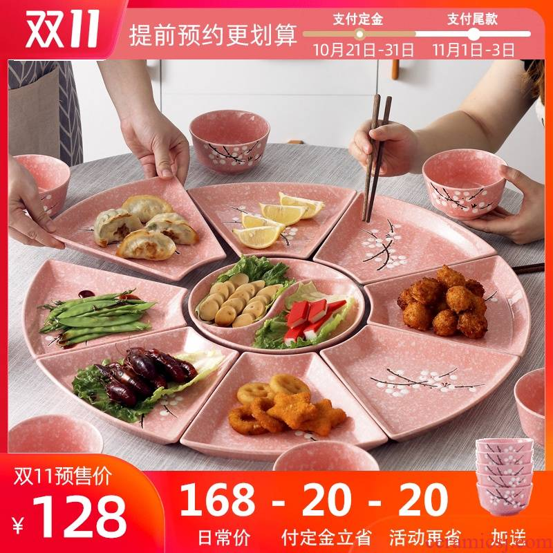 Dishes suit household ceramic plate hot pot dinner Dishes reunion party web celebrity platter composite plate tableware