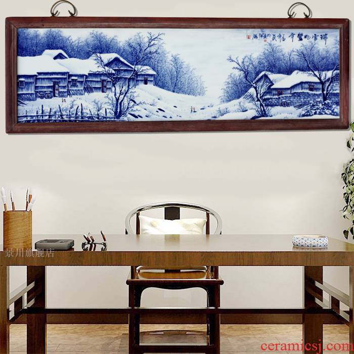 Hand draw a snow did good porcelain plate painter jingdezhen blue and white porcelain to hang in the living room sofa setting wall decoration