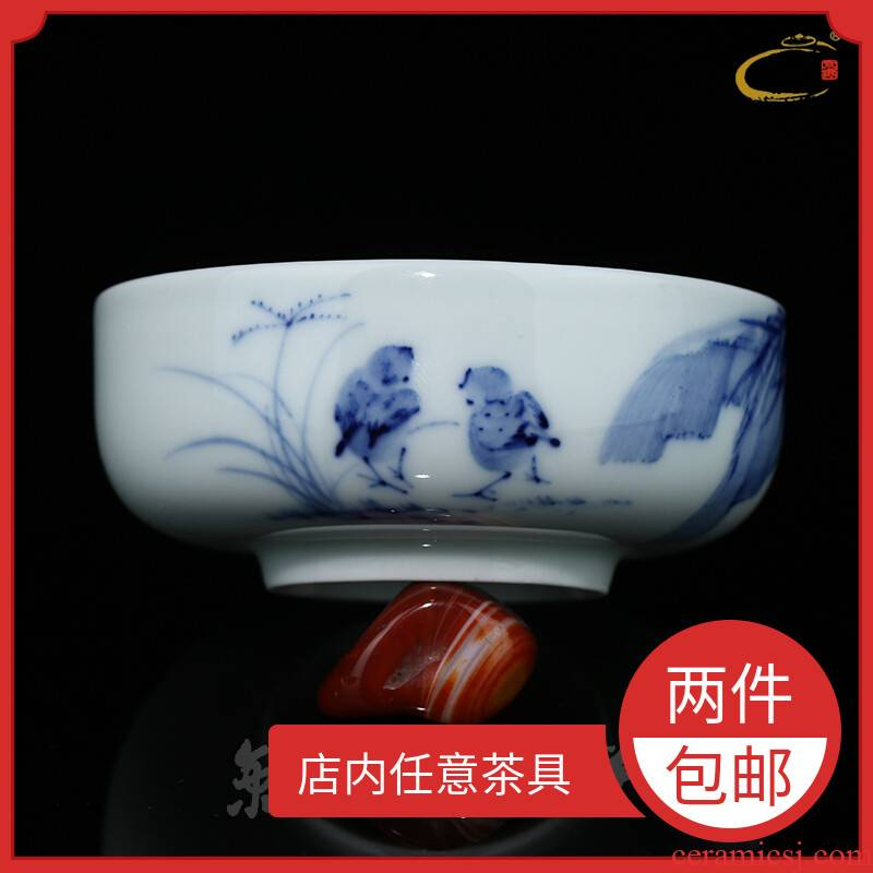 Jingdezhen blue and white inside and outside color landscape large cups and auspicious hand - made ceramic kung fu tea set single cup sample tea cup