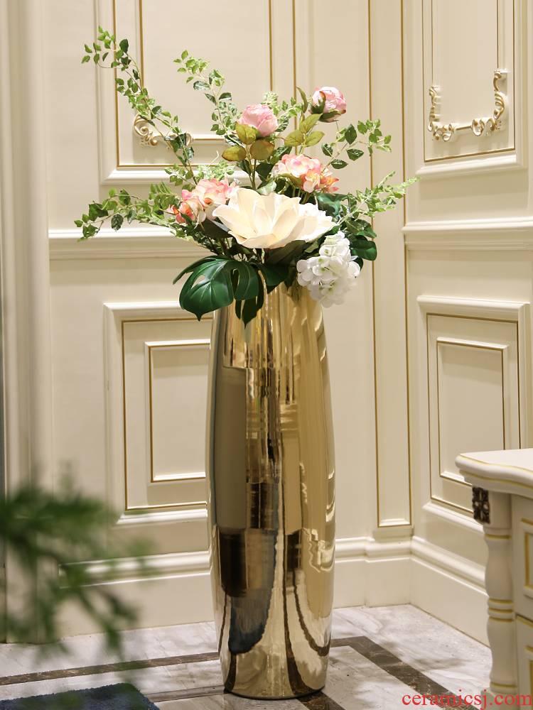 Light European - style key-2 luxury ceramic vase large sitting room ground bottle of flower arranging furnishing articles hotel TV ark adornment flowers