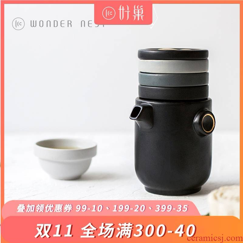 Good nest wondernest share set a pot of four cups of mickey portable bag type ceramic crack cup