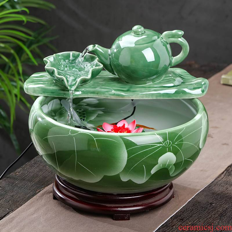 Jingdezhen ceramic aquarium desktop fountain water furnishing articles sitting room aquarium household cycle aquarium fish bowl