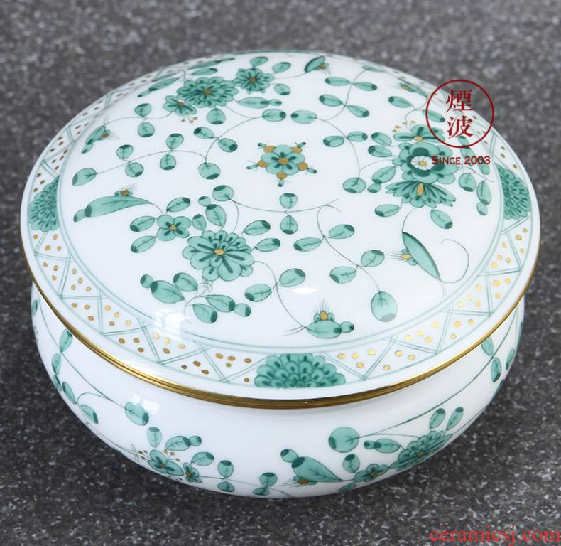 German mason mason meisen new clipping green flower porcelain candy box POTS store content box