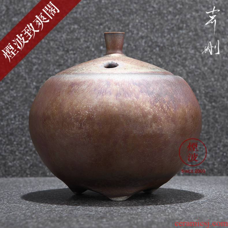 Those Japanese pottery master expedition just iridescent cloud droplets temmoku glaze hand - made round aroma stove