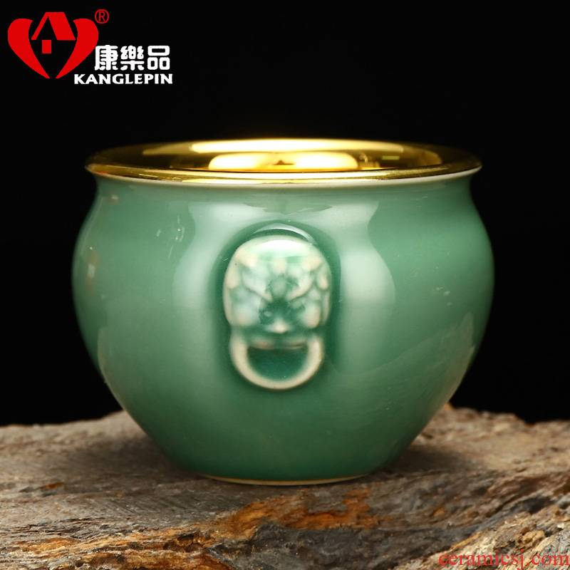 Recreational product benevolent celadon plutus cylinder humen 67 mm high capacity of 250 ml pure manual 24 k jinzhan tea cups