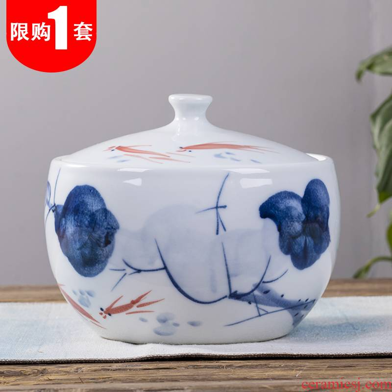 Jingdezhen ceramic tea pot home pu 'er tea pot of large storage POTS sealed seven loaves caddy fixings