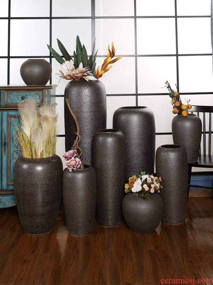 Dried flower vases, jingdezhen ceramic household is suing furnishing articles sitting room TV cabinet decoration to the hotel retro pottery flower arrangement