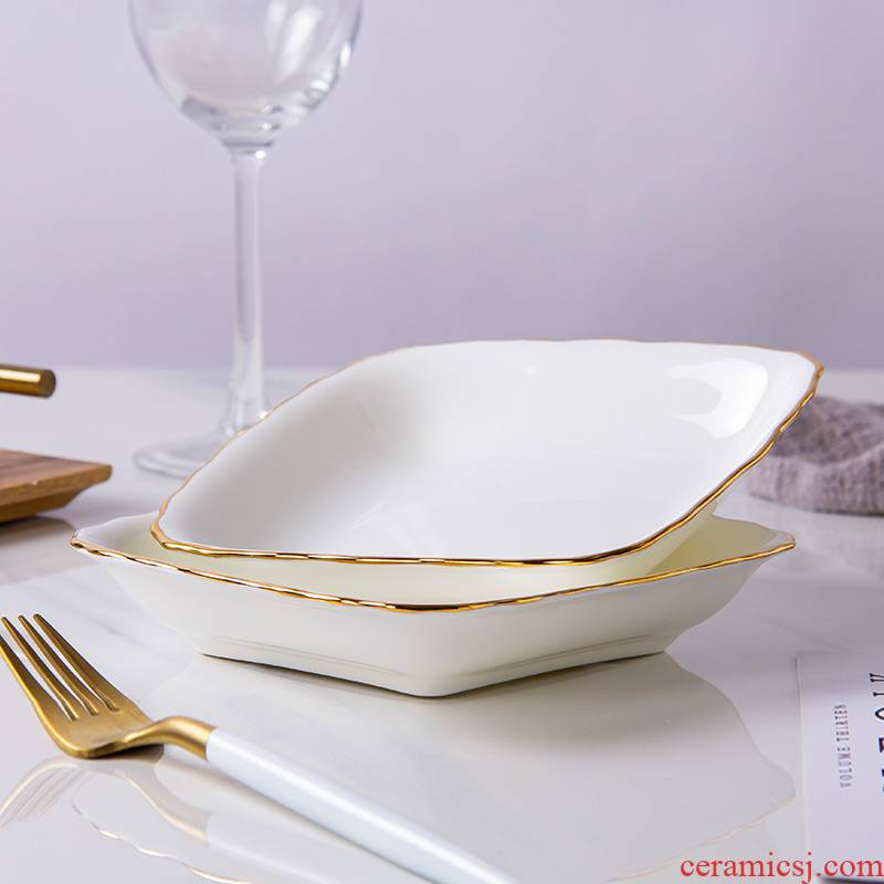 Jingdezhen ceramic European - style home up phnom penh creative dishes abnormity square deep ipads China plates with food dishes