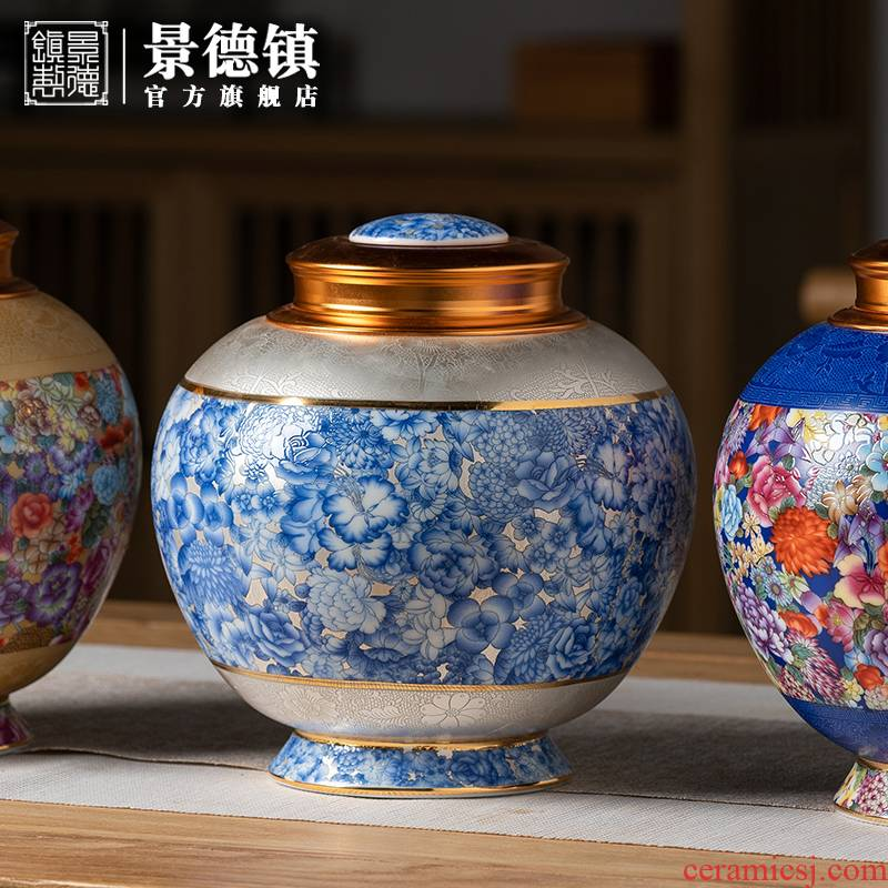 Jingdezhen flagship stores in the see colour ceramic tea pot enamel high - end tall apple can appreciate the collection tank