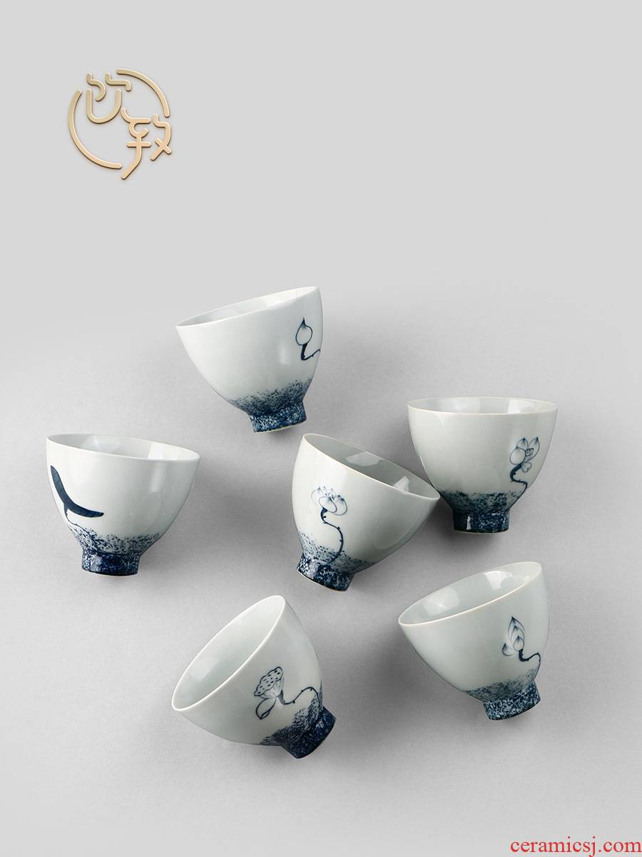 Ultimately responds to 6 fitting jingdezhen hand - made porcelain cup cup archaize ceramic tureen master sample tea cup cup single CPU