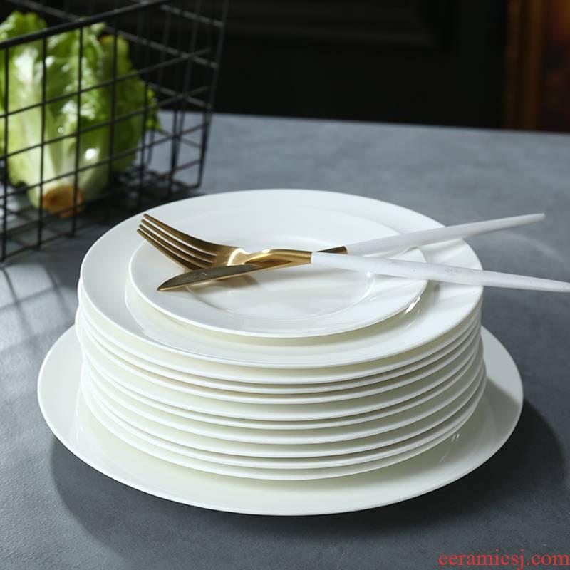 Ceramic dish dish dish creative household pure white ipads porcelain dish dish dish plates plate beefsteak