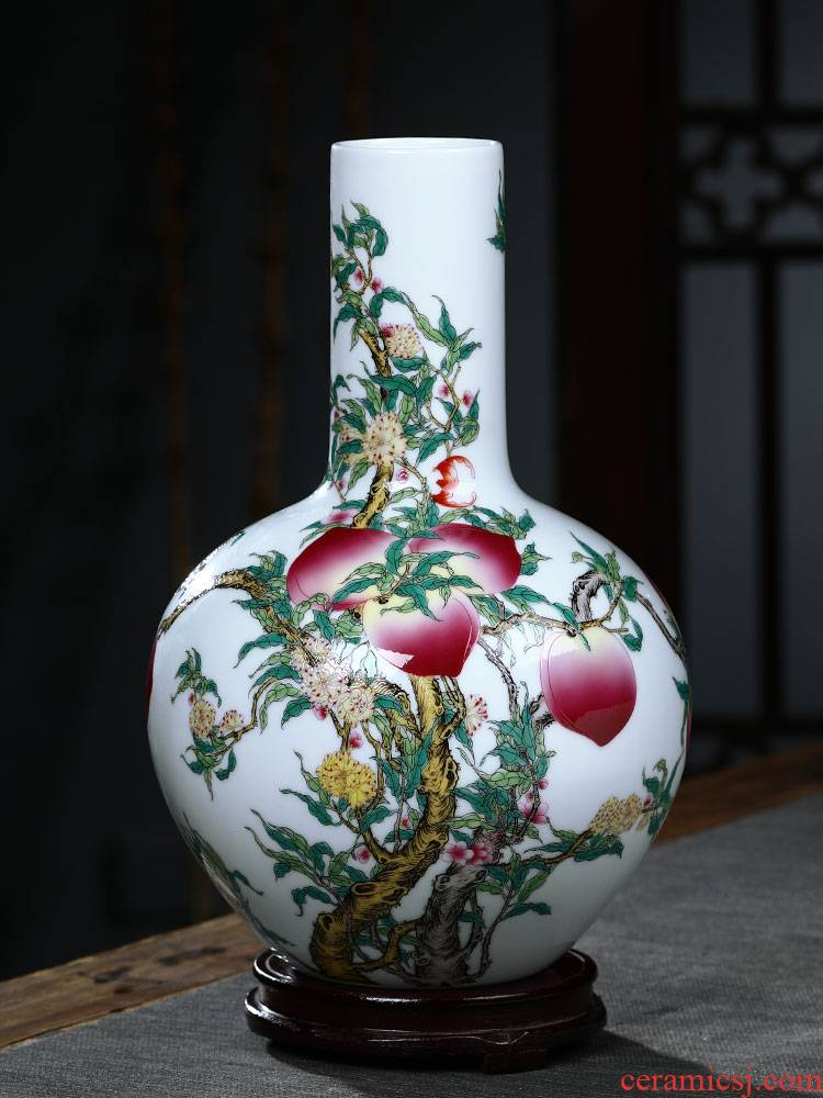 Jingdezhen ceramics vase the peach flower arranging antique Chinese style household TV ark, decoration crafts are sitting room