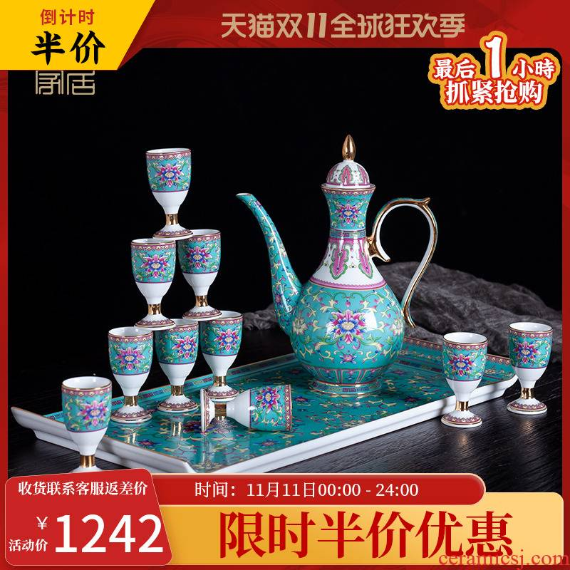 Blower, colored enamel wine suits for domestic high - grade liquor cup Chinese wine trumpet a small handleless wine cup of pottery and porcelain cups