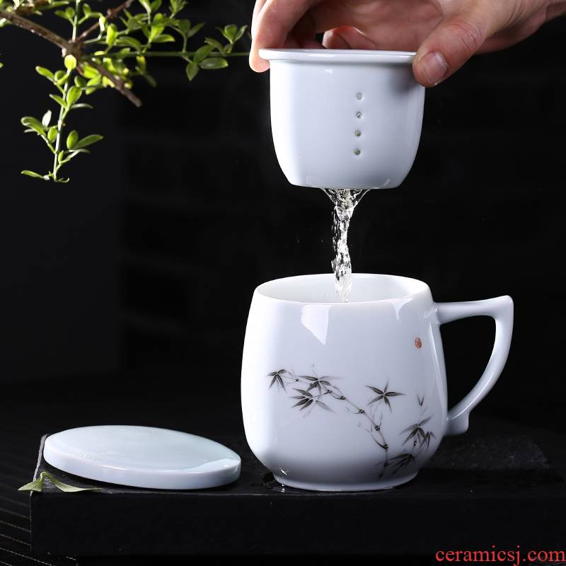 The Fire high - capacity office cup one thousand mark of jingdezhen ceramic couples with cover household filter hand - made tea cup