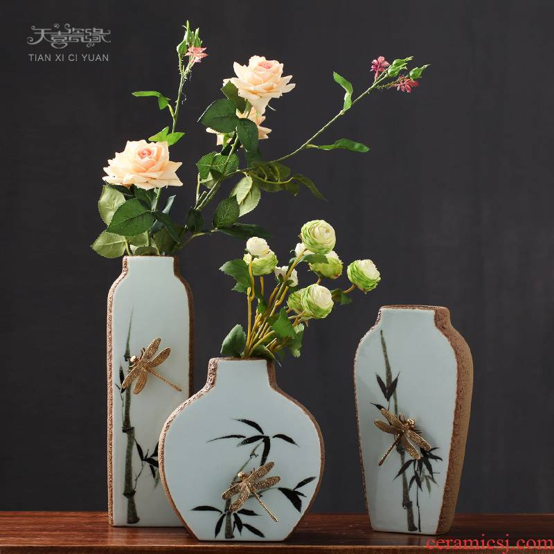 Modern new Chinese ceramic vases, flower arranging is European sitting room porch creative household soft adornment desktop furnishing articles