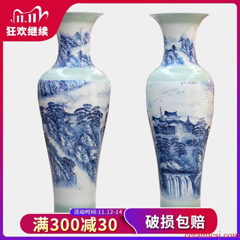 Jingdezhen blue and white landscape ceramic hand - made goddess of mercy bottle 1 115 meters 1.2 meters 1.5 meters of large vase celebration