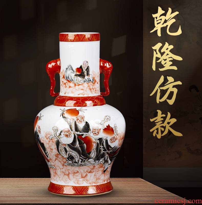 Jingdezhen ceramic ear vase hand - made paint sitting room tea table rich ancient frame furnishing articles of Chinese style restoring ancient ways household act the role ofing is tasted