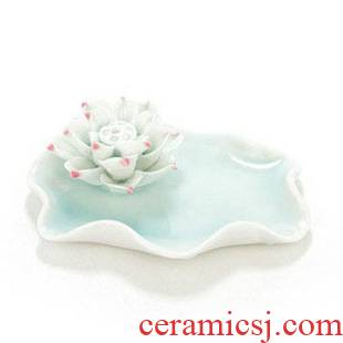 Manual shadow green ceramic creative practical lotus fragrance incense dish incense joss stick process