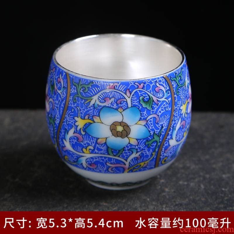 Jingdezhen manual pick flowers, ceramic silver kung fu masters cup cup 99 coppering. As silver sample tea cup single cup bowl is big