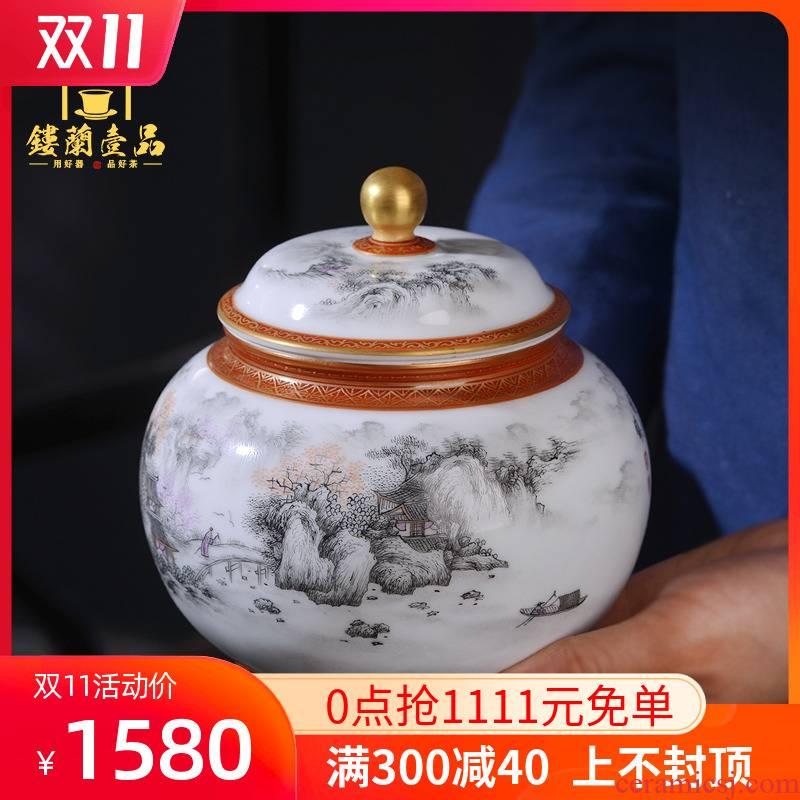 Jingdezhen all hand paint ceramic ink in the jiangnan chunxiao caddy fixings cover seal save tea pot and tea pot