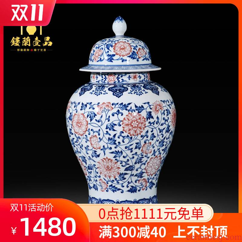 Antique porcelain of jingdezhen ceramics youligong general tank storage tank sitting room adornment of new Chinese style household furnishing articles