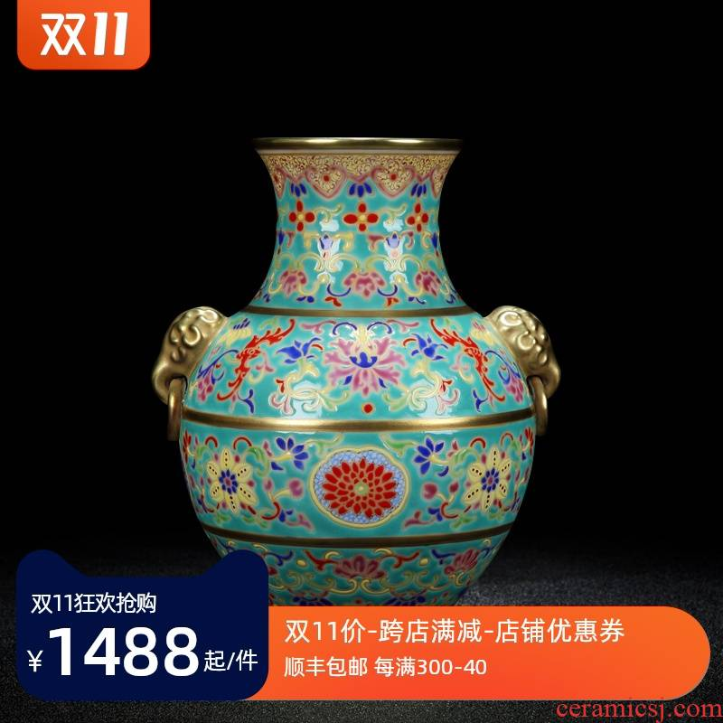 Jingdezhen ceramic vase furnishing articles antique hand - made pastel color porcelain enamel elephant bit ring bottle gift classical household