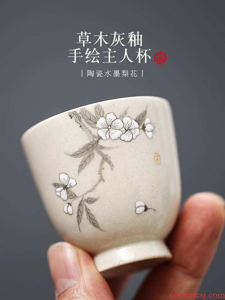 Jingdezhen ceramic tea set hand - made the pear flower, white porcelain kung fu master cup single cup sample tea cup small cups hat to the CPU