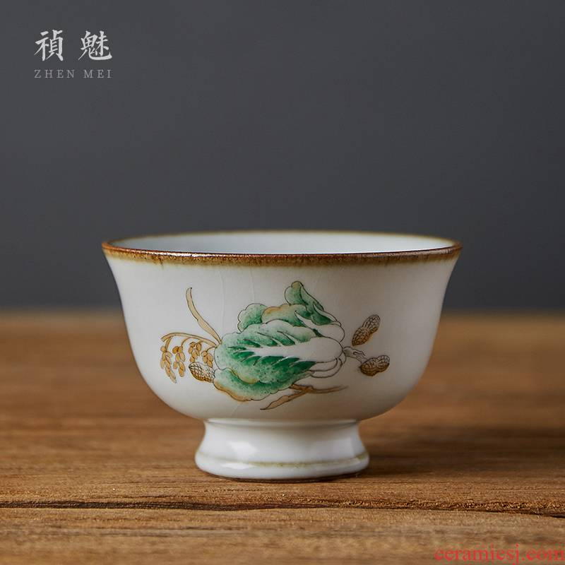 Shot incarnate your up hand - made cabbage open single piece of glass of jingdezhen ceramic kung fu tea set personal tea cup master CPU